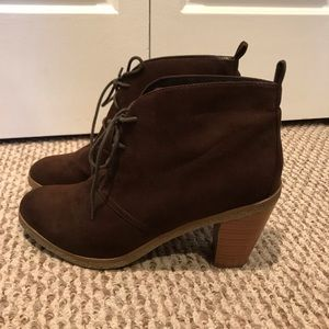 American Eagle Brown Suede Laceup Booties